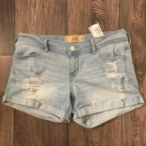 Hollister light wash ripped distressed jean shorts